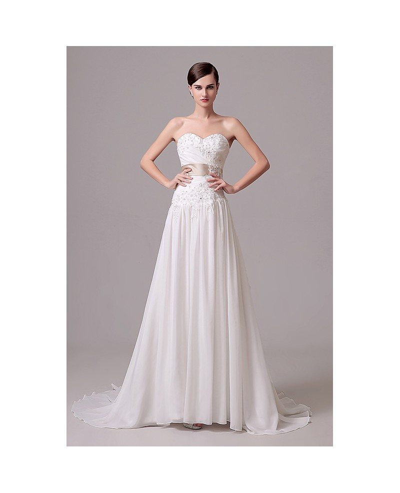A line sweetheart court train wedding dress c28305 150 for How to dress for a courthouse wedding