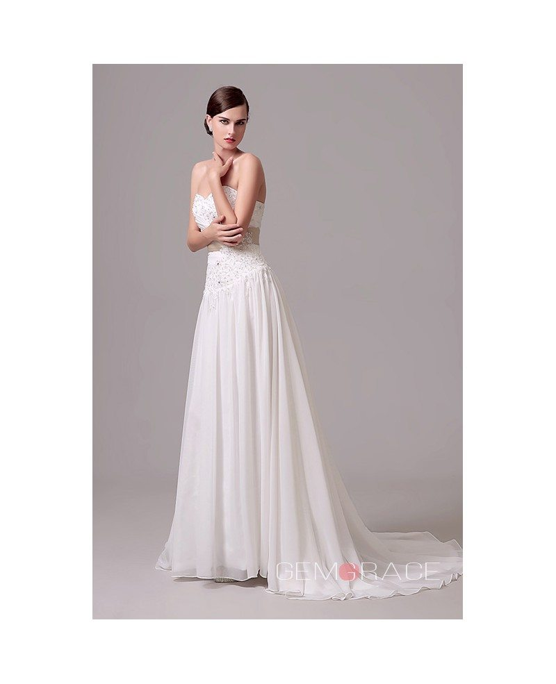 A line sweetheart court train wedding dress c28305 150 for Dresses for court wedding