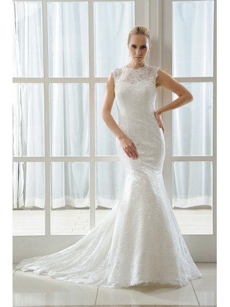 Mermaid Scoop Neck Sweep Train Lace Wedding Dress