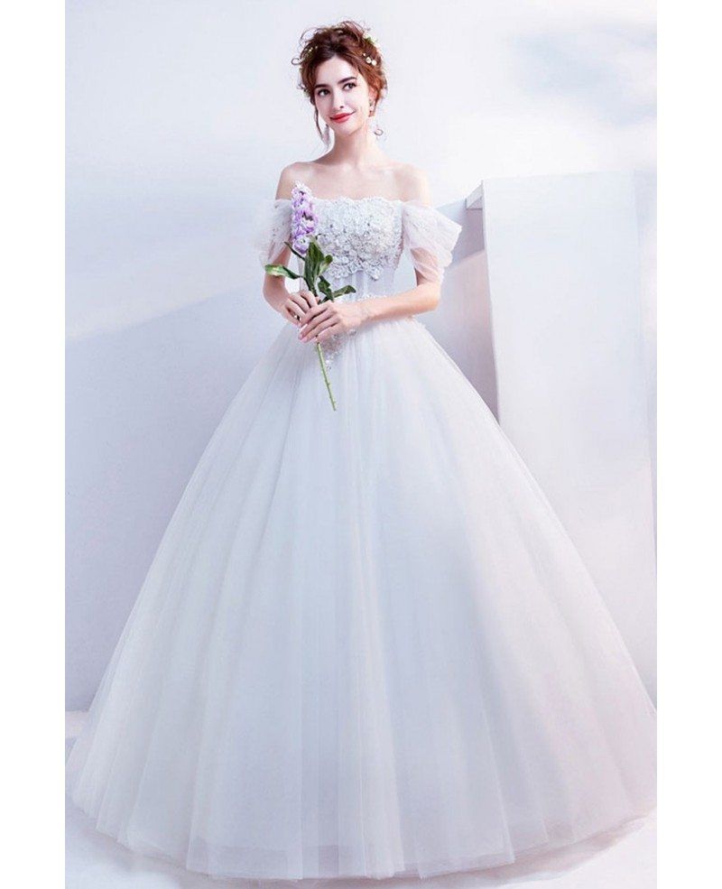 Off Shoulder Princess Ball Gown Wedding Dress With Flowers