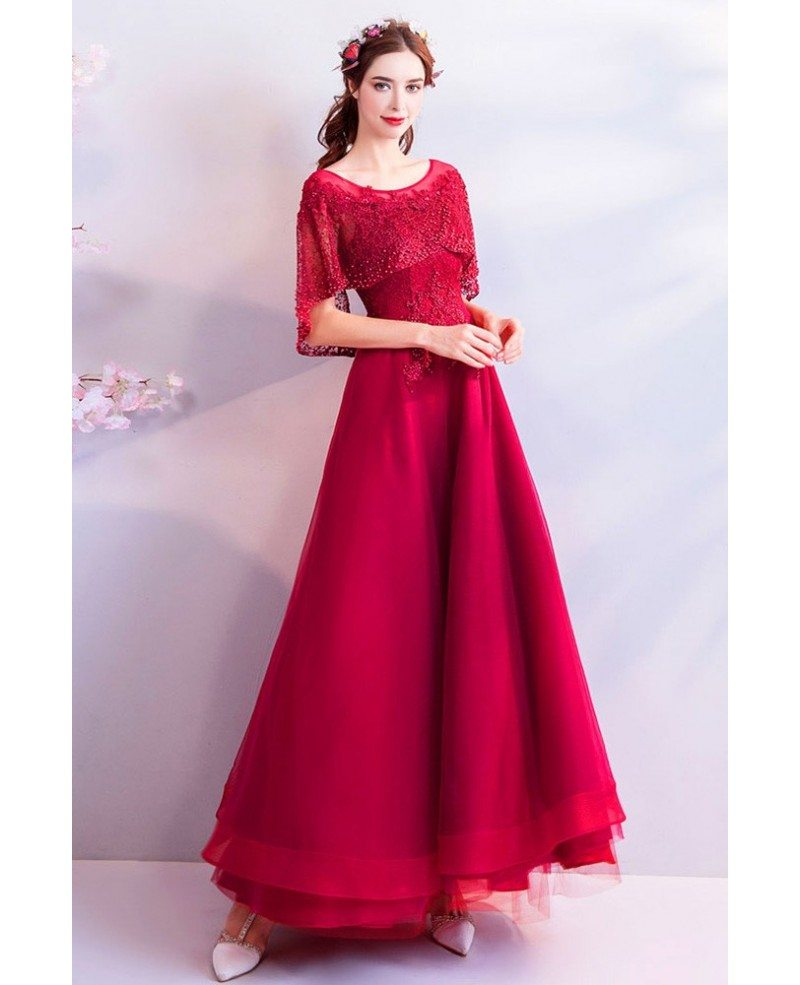 Burgundy Maxi Long Red Tulle Party Dress With Beaded ...