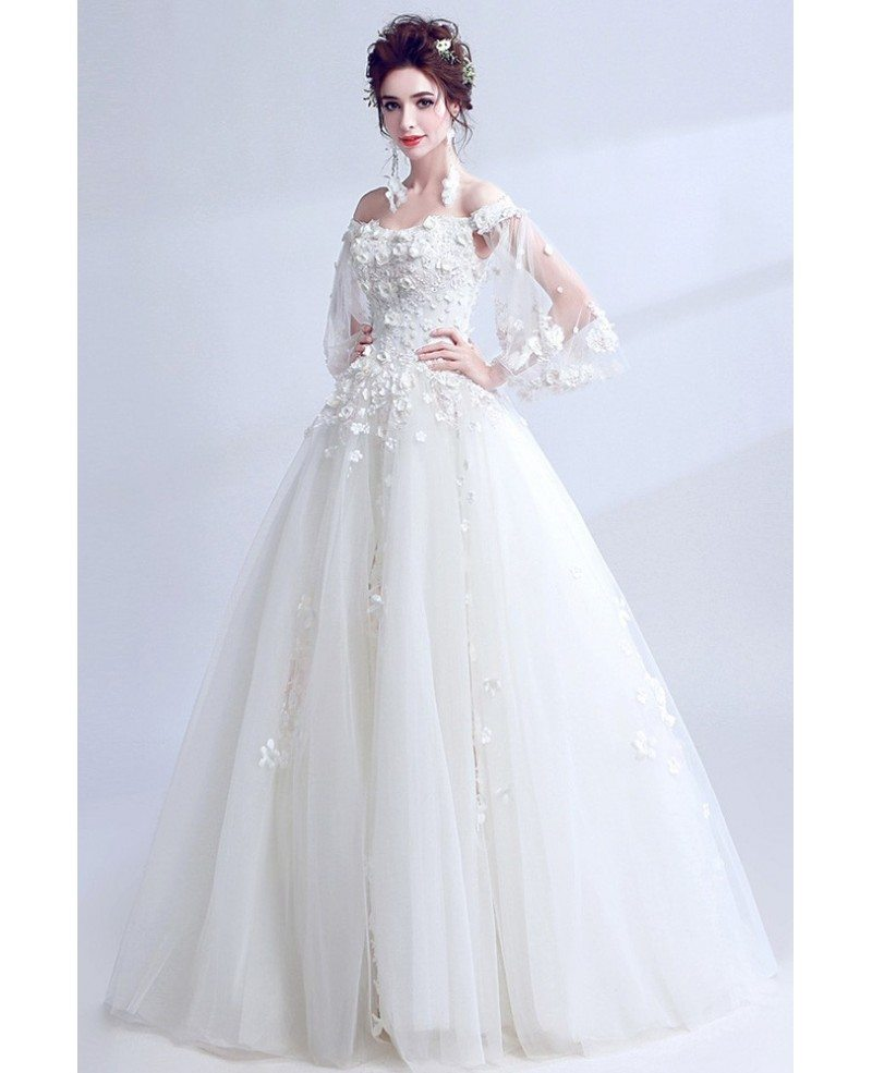 Dreamy White Off Shoulder Ball Gown Wedding Dress With