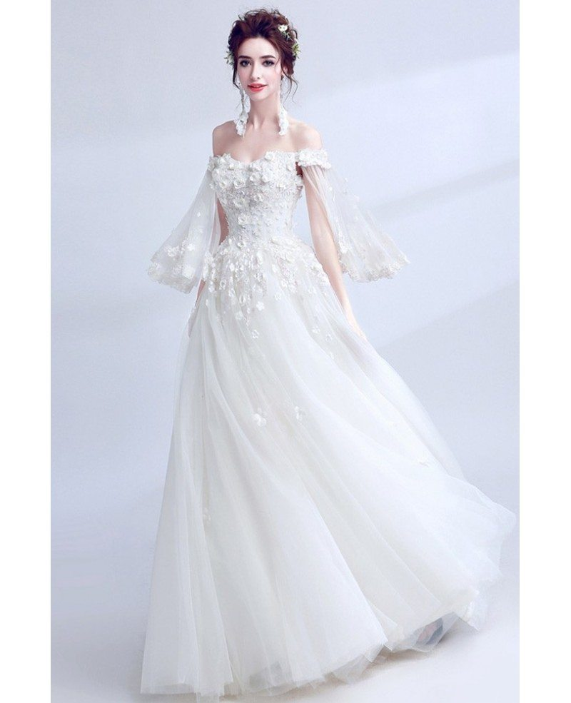 Wedding Dress White Vs Off White: Dreamy White Off Shoulder Ball Gown Wedding Dress With