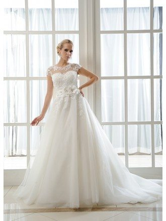 Ball-Gown Scoop Neck Chapel Train Tulle Wedding Dress With Beading Appliques Lace Flowers