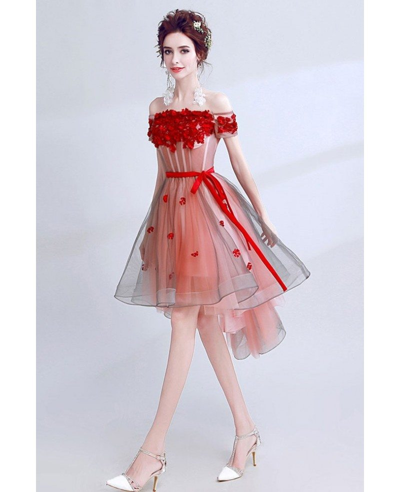 cute red petals short tulle prom party dress with off