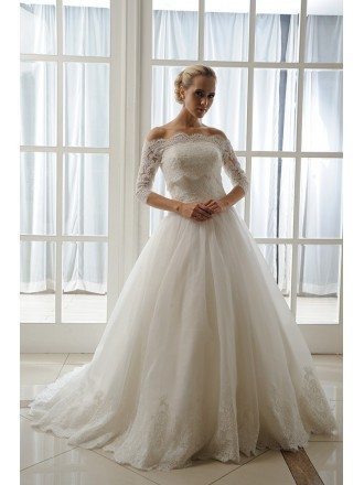 Ball-Gown Strapless Court Train Tulle Wedding Dress With Appliques Lace Wraps