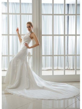 Mermaid Halter Chapel Train Tulle Wedding Dress With Beading Appliques Lace