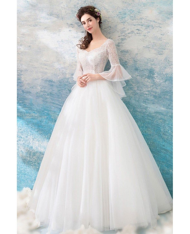 Special Sheer Top Ball Gown Wedding Dress With Bling Bell