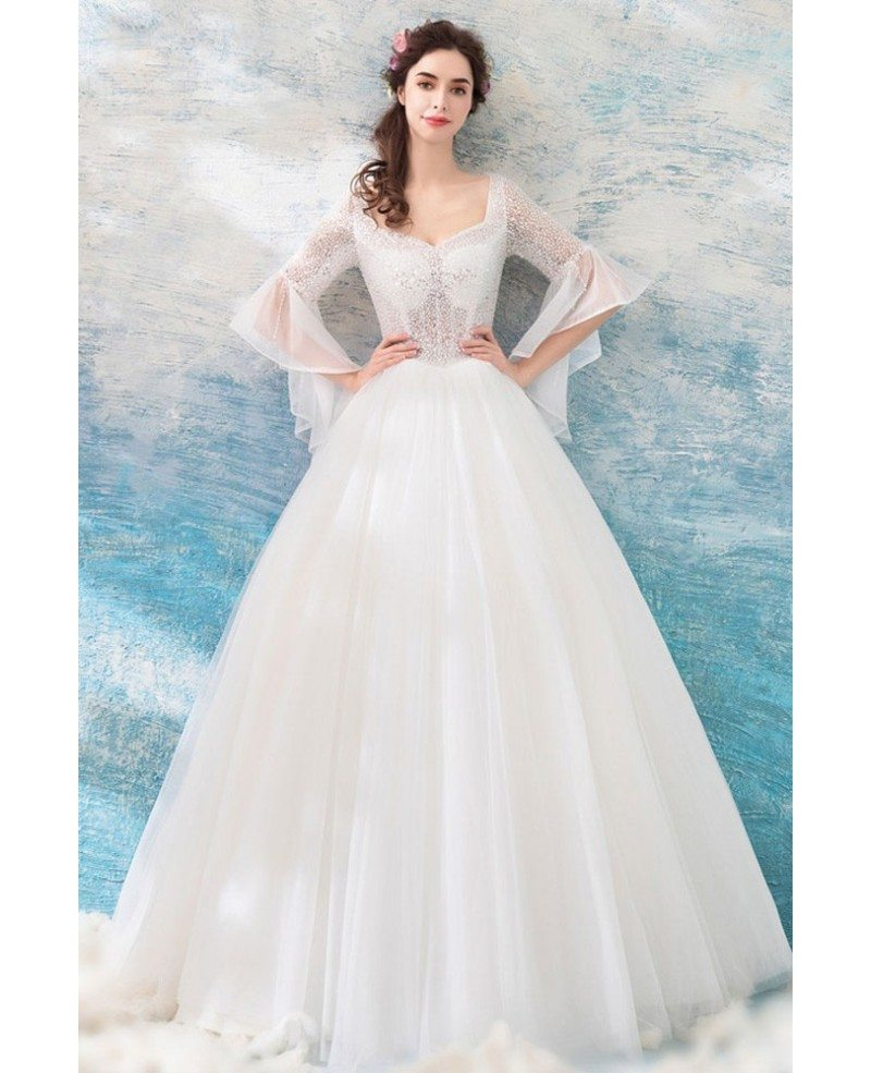 Wedding Dresses With Bell Sleeves: Special Sheer Top Ball Gown Wedding Dress With Bling Bell