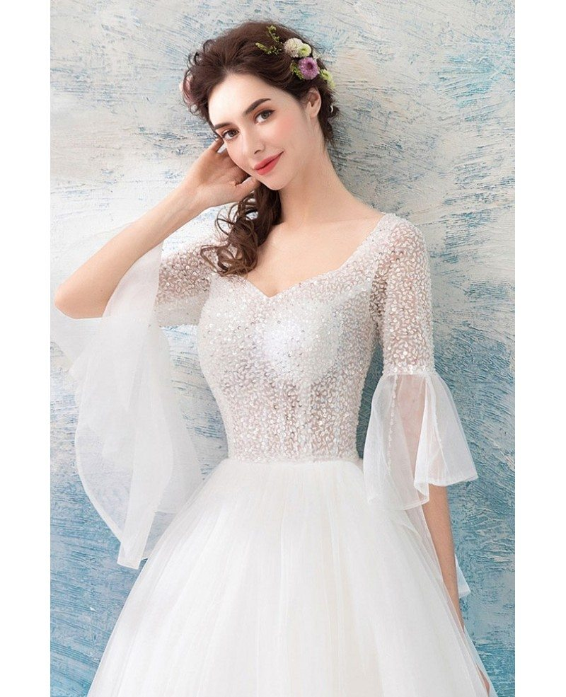 Bell Sleeve Wedding Dress: Special Sheer Top Ball Gown Wedding Dress With Bling Bell
