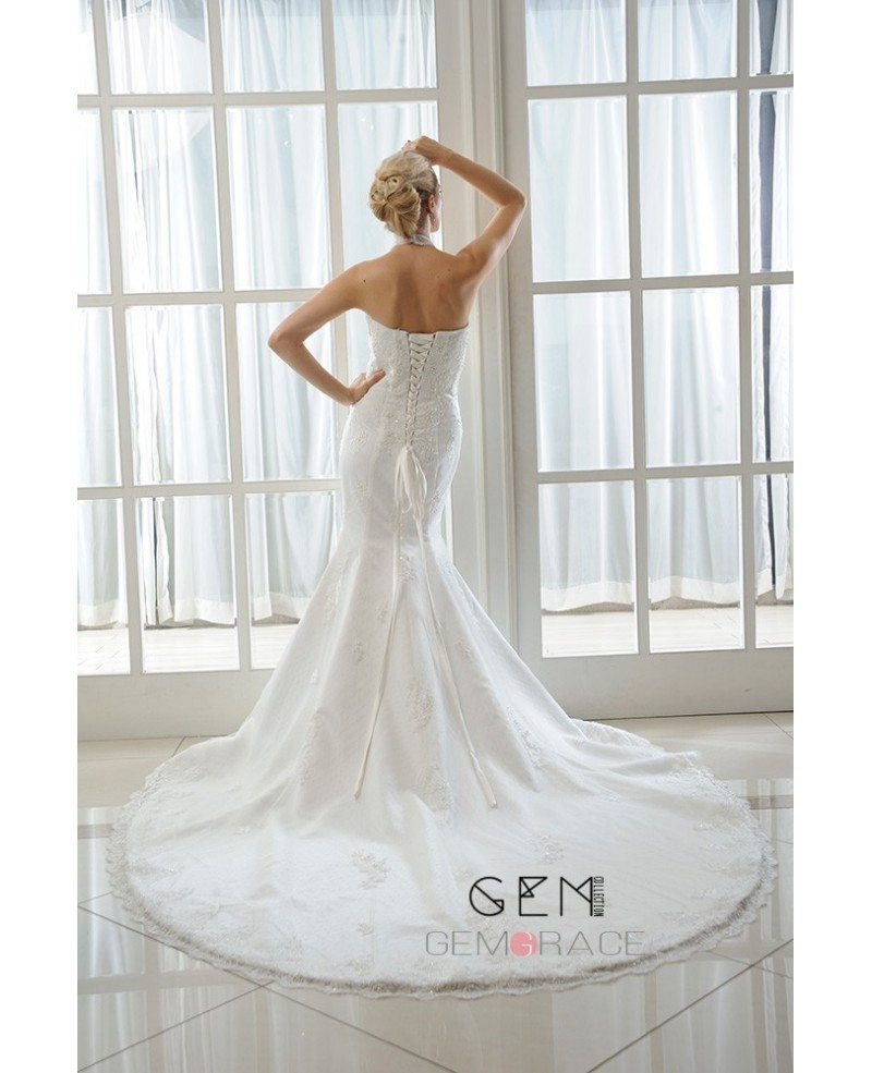 Mermaid halter chapel train tulle wedding dress with for Mermaid halter wedding dresses