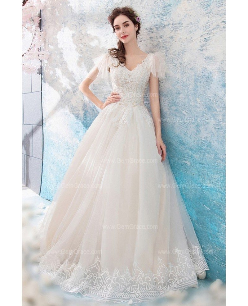 Fancy Dressing Gowns: Fancy Lace Trim V-neck Tulle Wedding Dress With Sleeves
