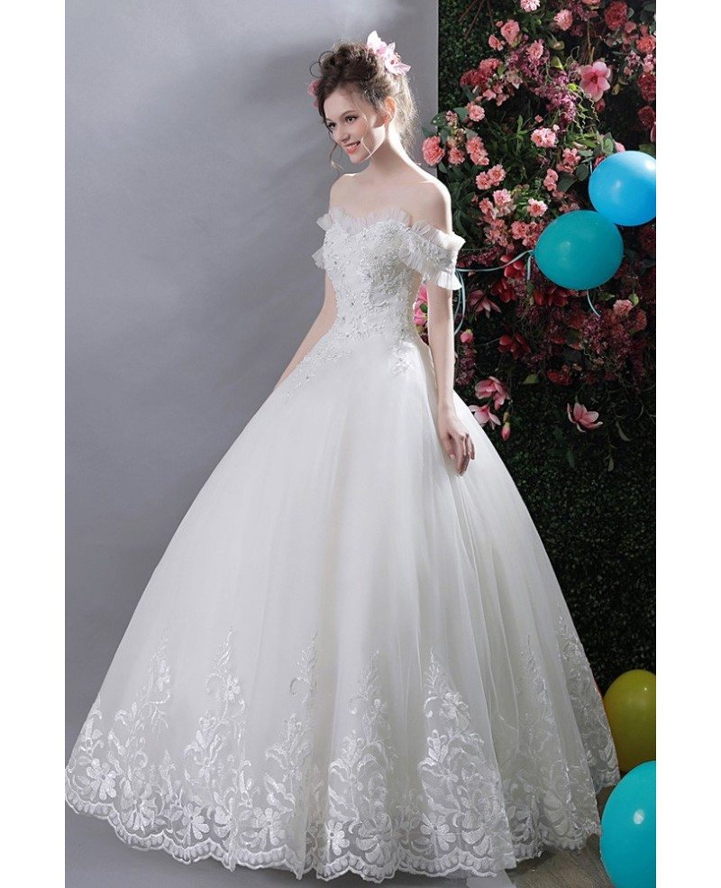 Gorgeous White Lace Trim Ball Gown Wedding Dress Off