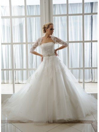 Ball-Gown Strapless Court Train Tulle Wedding Dress With Beading Appliques Lace Wraps