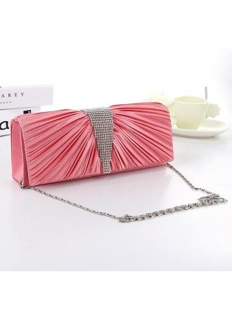 Pleated Silk Clutches With Rhinestone Style