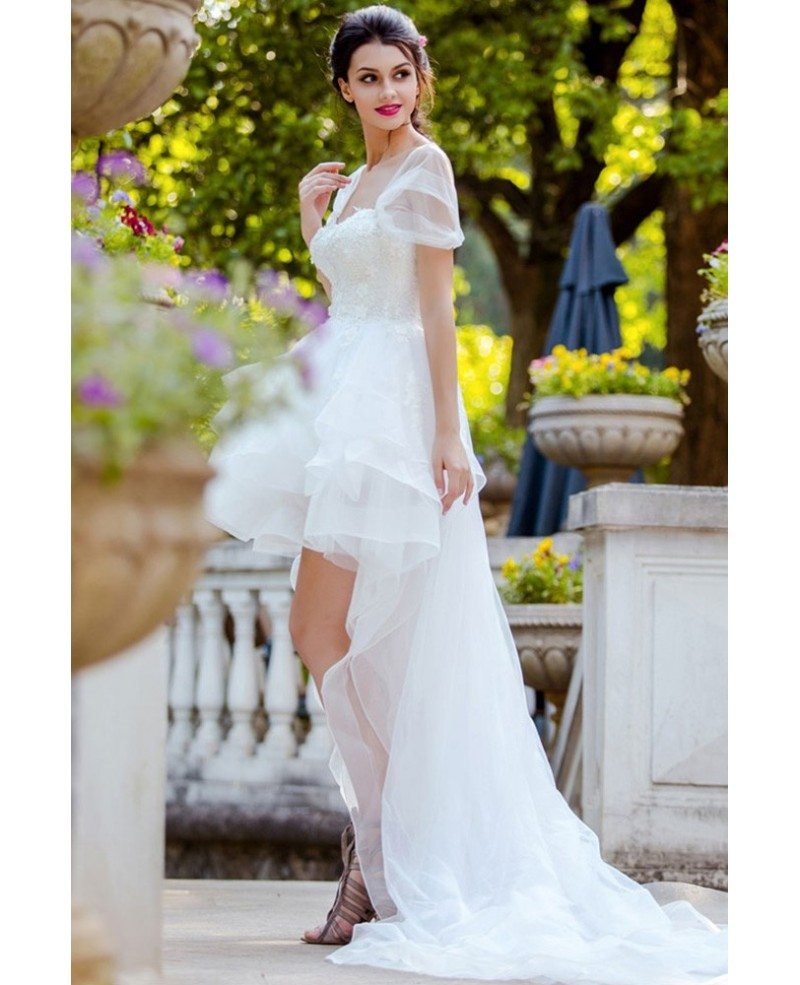 Wedding Dresses: Unique Long Train High Low Beach Wedding Dress Ruffled