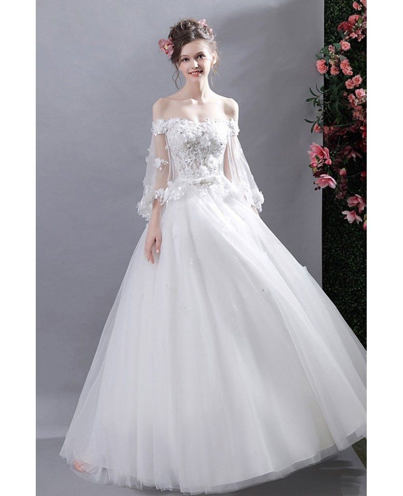 Fairy Off Shoulder Sleeves Ball Gown Wedding Dress With