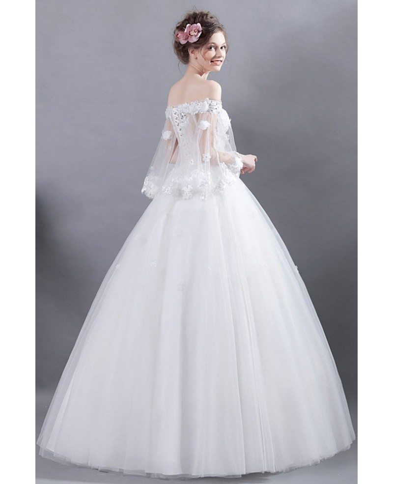 Flower Wedding Gown: Fairy Off Shoulder Sleeves Ball Gown Wedding Dress With