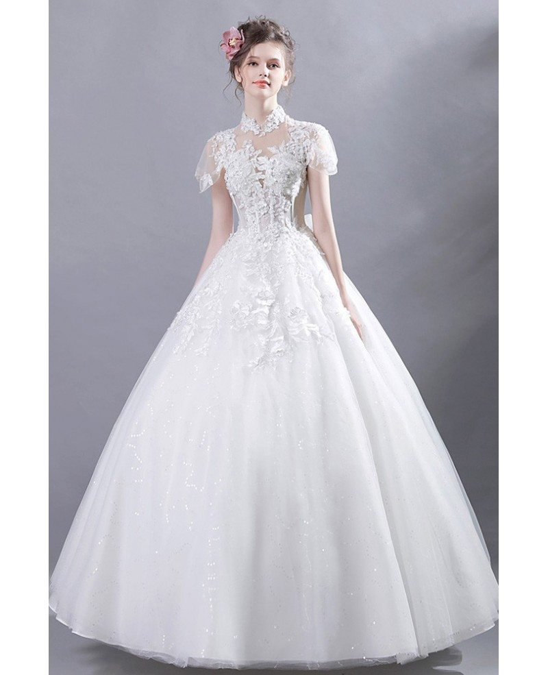 Wedding Gown With Lace: Retro High Collar Court Ball Gown Wedding Dress Lace With