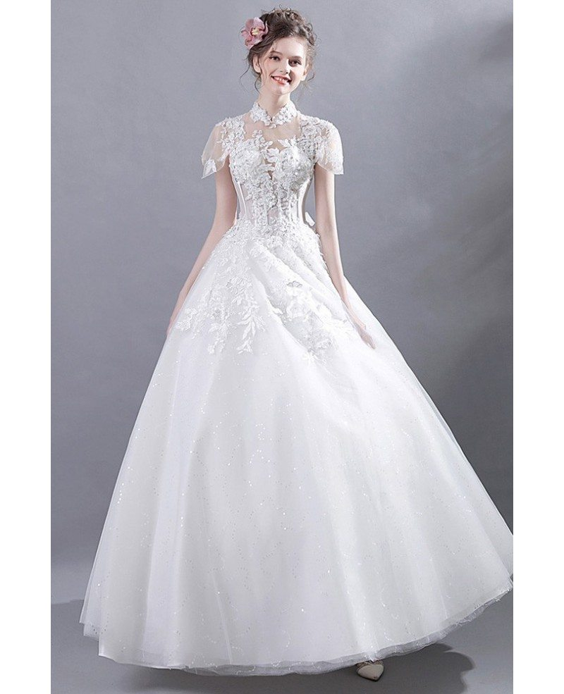 Ball Gown Lace Wedding Dresses: Retro High Collar Court Ball Gown Wedding Dress Lace With