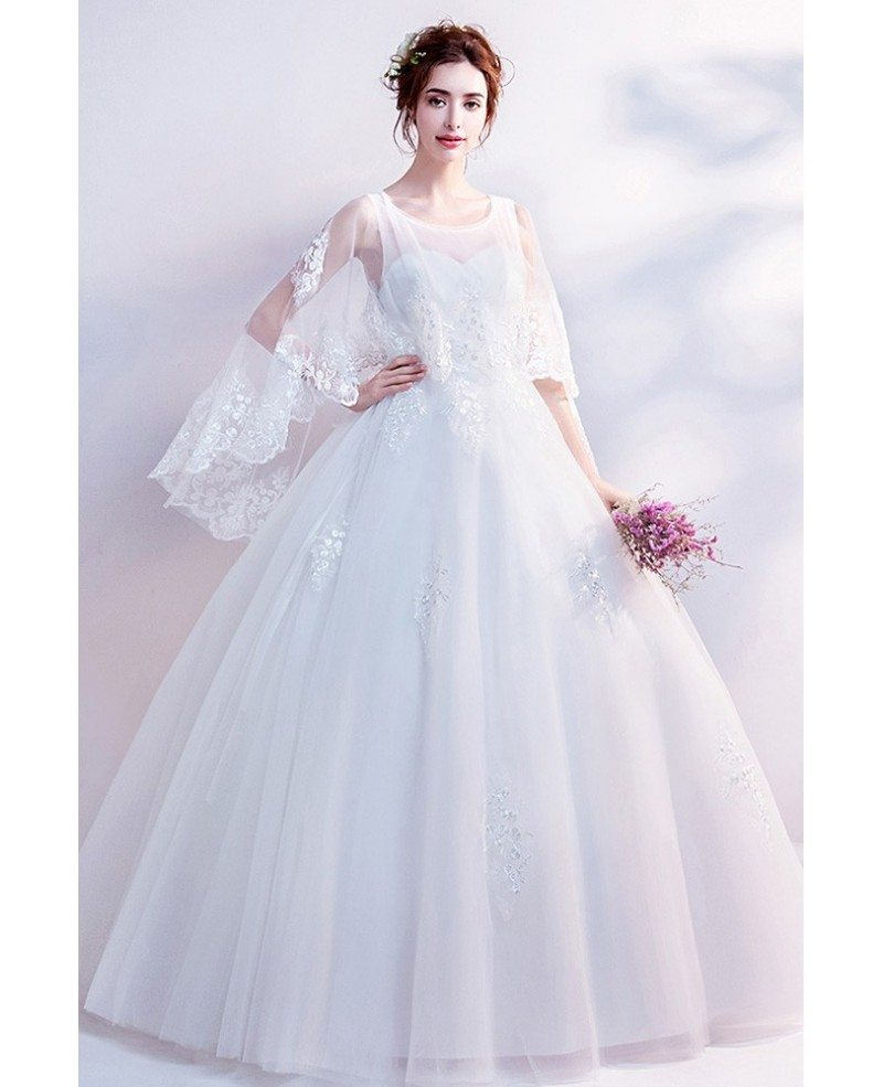 cheap ball gowns under 50 dreamy lace cape sleeves big ball gown wedding dress 3758