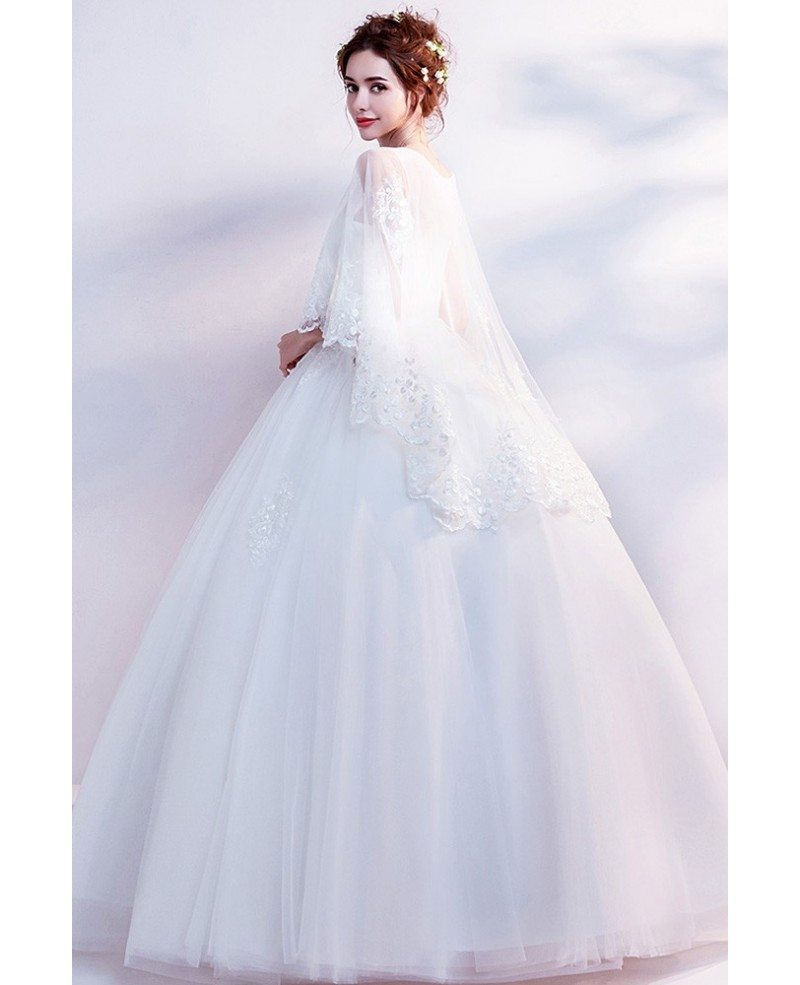 Dreamy Lace Cape Sleeves Big Ball Gown Wedding Dress ...