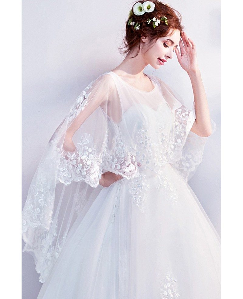 Giant Ball Gown Wedding Dress: Dreamy Lace Cape Sleeves Big Ball Gown Wedding Dress