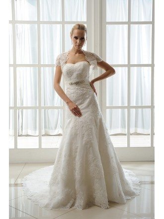 Mermaid Sweetheart Court Train Tulle Wedding Dress With Beading Appliques Lace Wraps