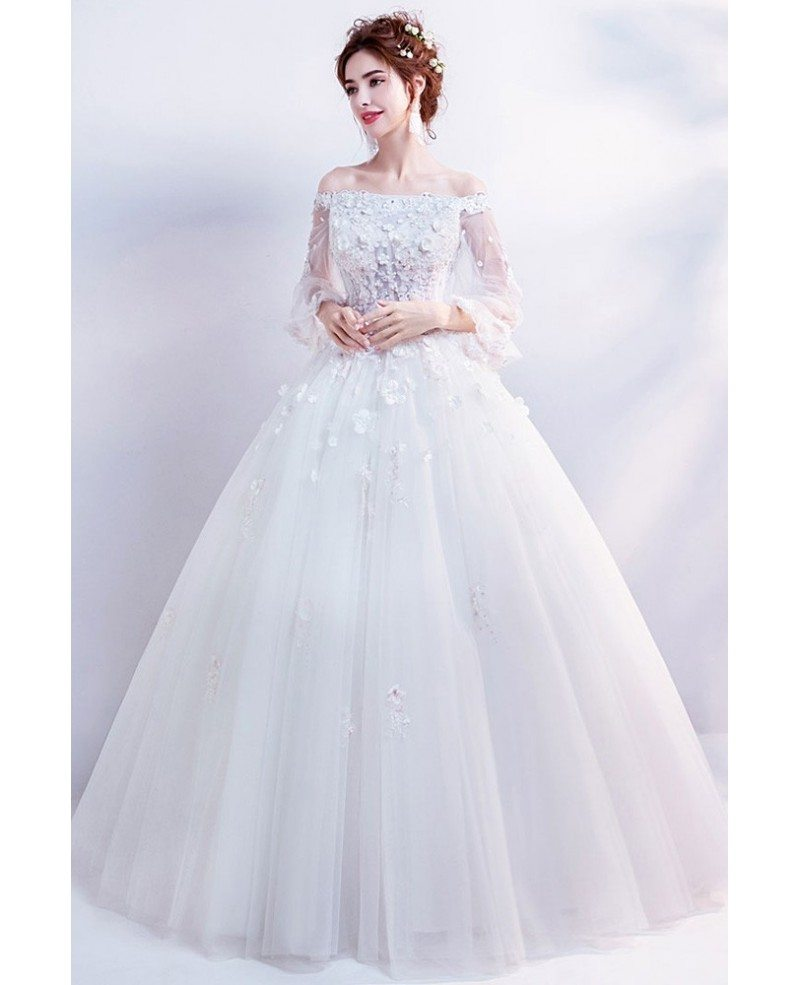 Flower Wedding Gown: Dreamy Flowers Tulle Sleeve Ball Gown Wedding Dress With