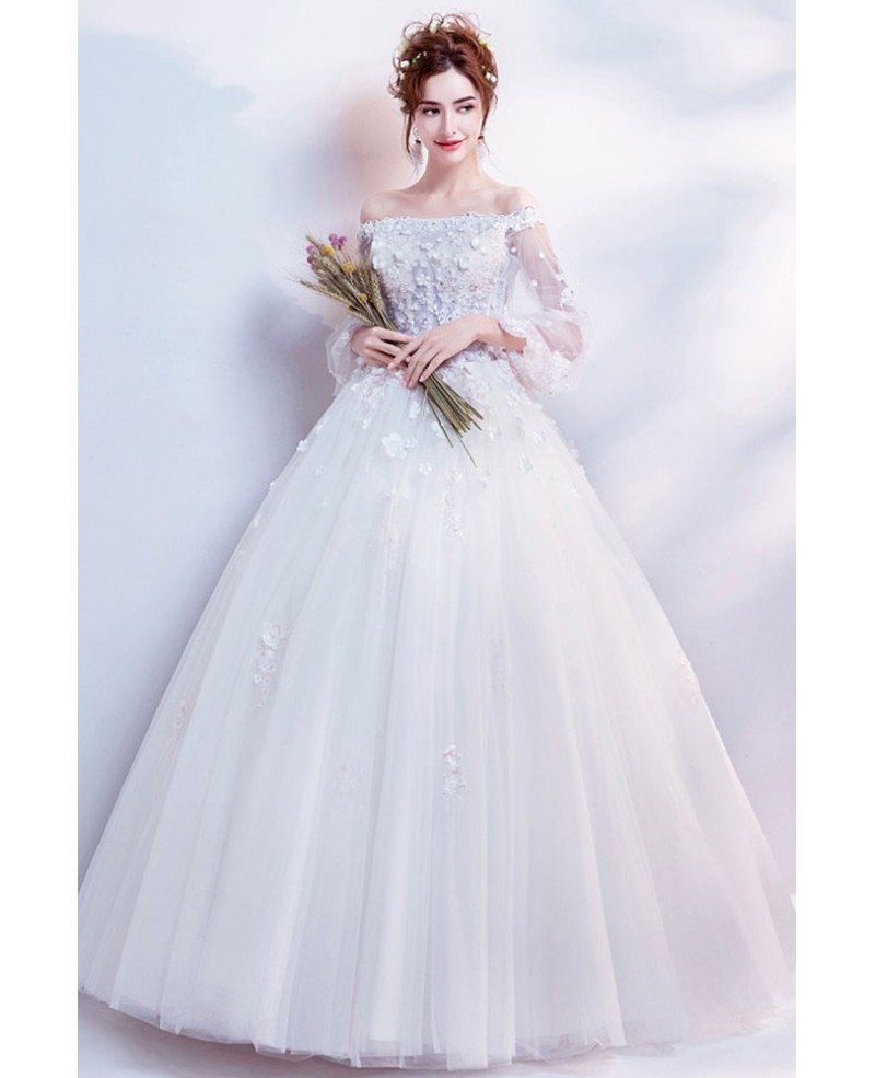 Wedding Gowns With Flowers: Dreamy Flowers Tulle Sleeve Ball Gown Wedding Dress With