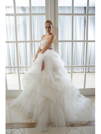 Ball-Gown Sweetheart Court Train Organza Wedding Dress With Appliques Lace Cascading Ruffles Bow