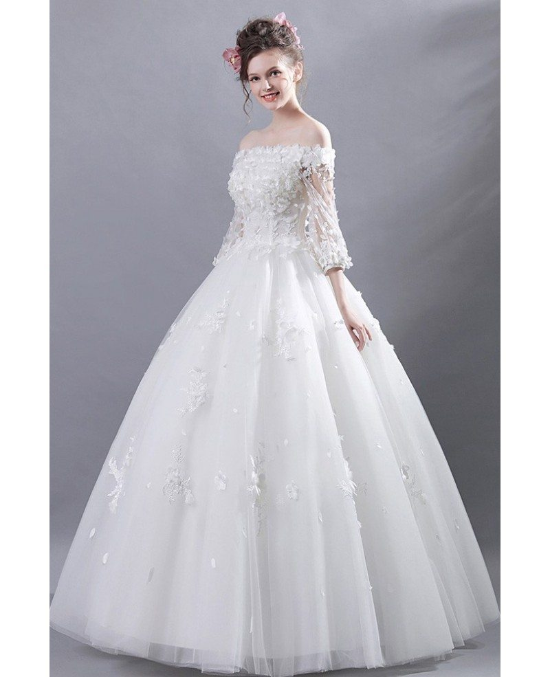 Off Shoulder Tulle Ball Gown Wedding Dress With Flower