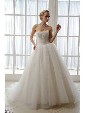 Ball-Gown Strapless Cathedral Train Tulle Wedding Dress With Beading