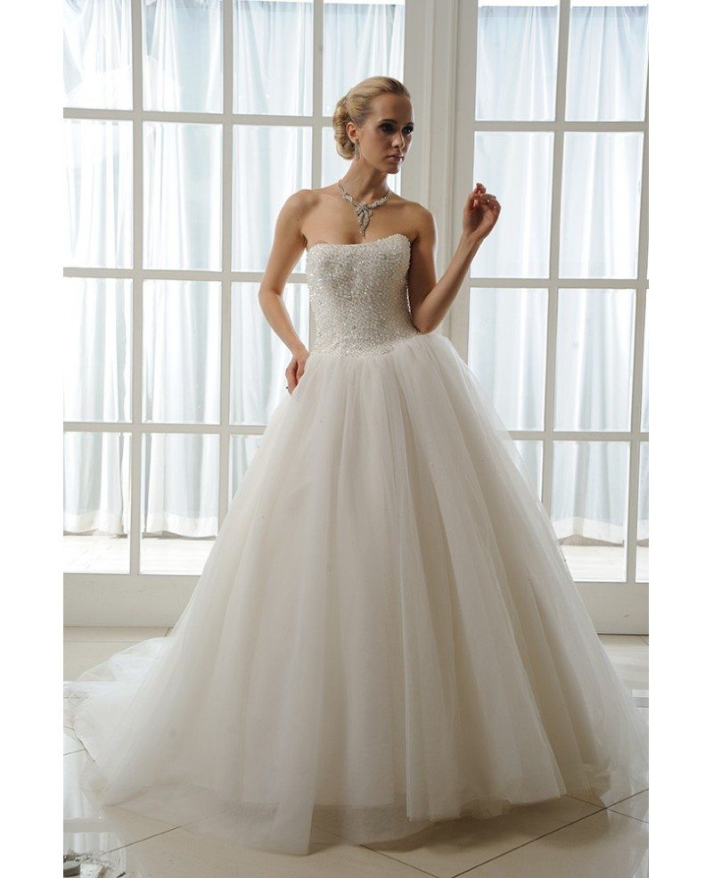 Ball-Gown Strapless Cathedral Train Tulle Wedding Dress