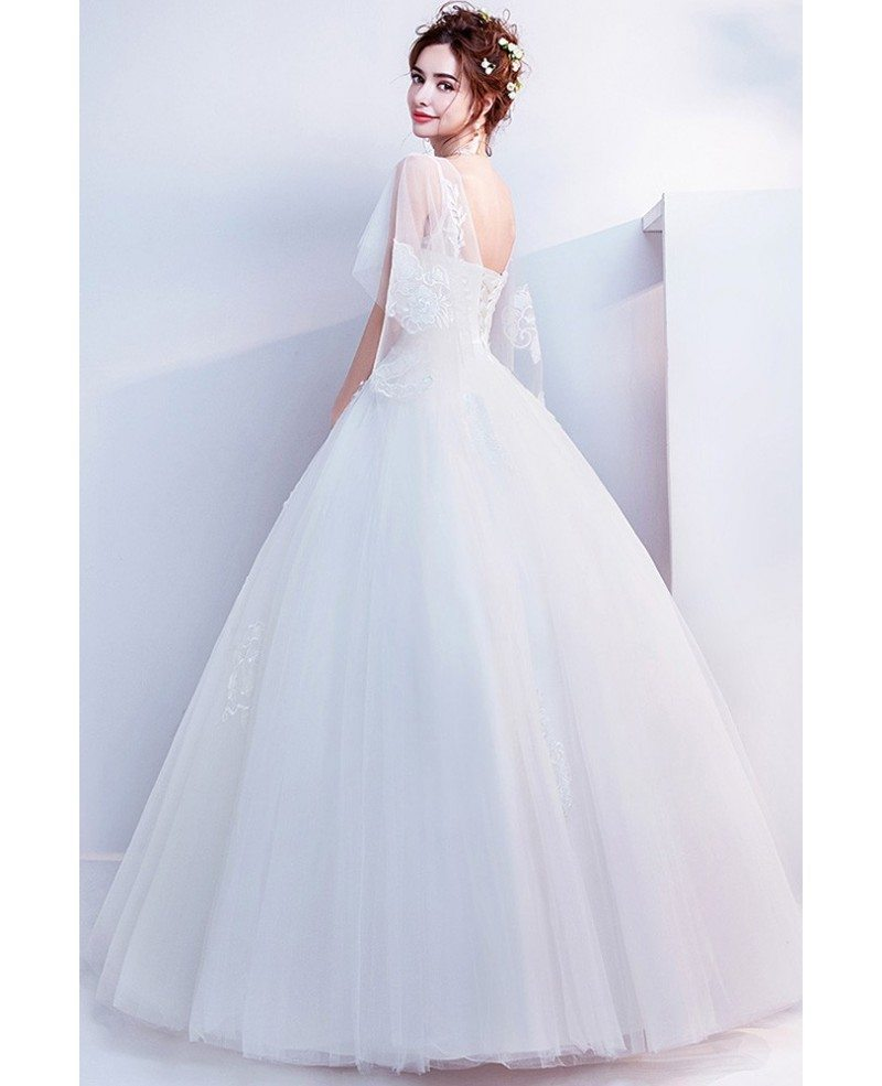 Ball Gown Lace Wedding Dresses: Affordable Informal Ball Gown Lace Wedding Dress With Cape