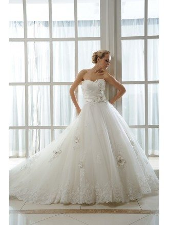 Ball-Gown Sweetheart Court Train Tulle Wedding Dress With Beading Appliques Lace Flowers