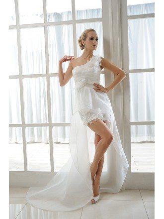 A-Line One Shoulder Asymmetrical Organza Wedding Dress With Flowers