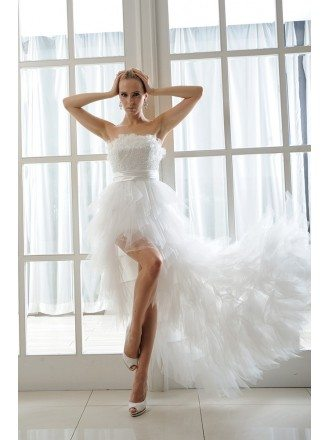 A-Line Strapless Asymmetrical Organza Wedding Dress High Low With Beading Cascading Ruffles
