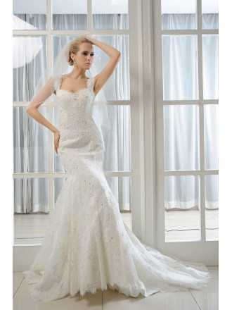 Mermaid Sweetheart Sweep Train Tulle Wedding Dress With Beading Appliques Lace