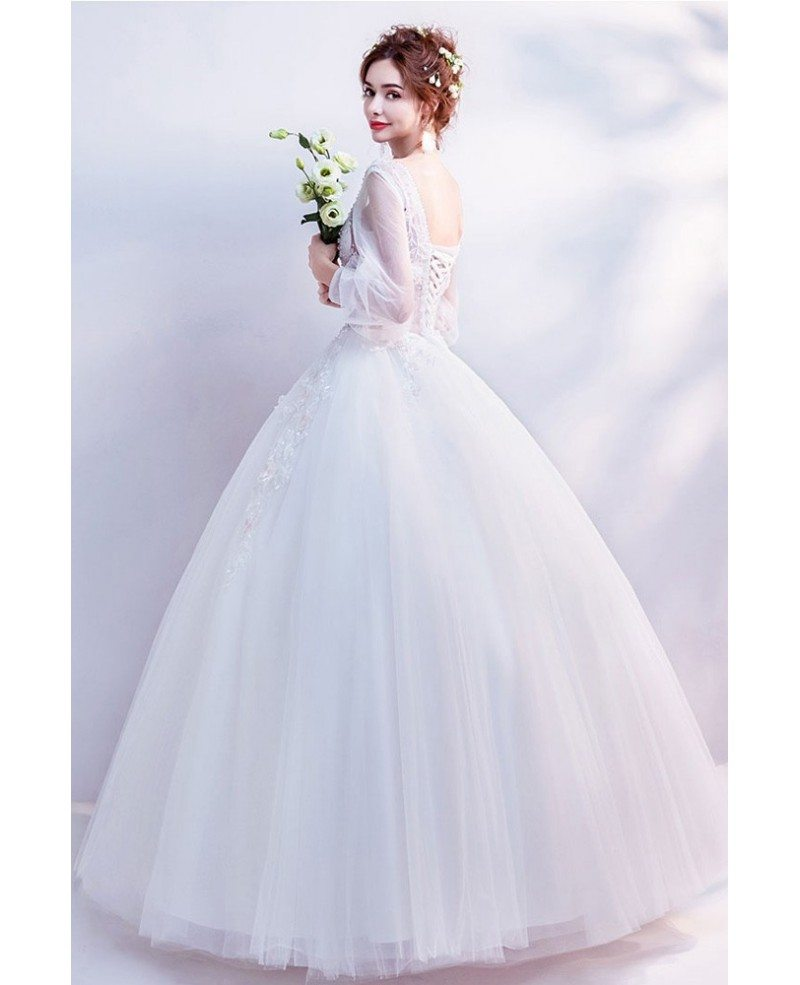 Flare Sleeves Ballgown Floral Wedding Dress 2019 In