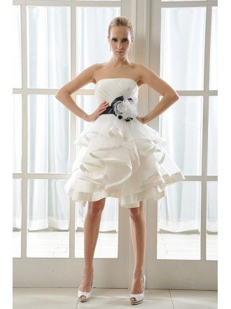 A-Line Strapless Short Organza Wedding Dress With Cascading Ruffles Flowers Bow