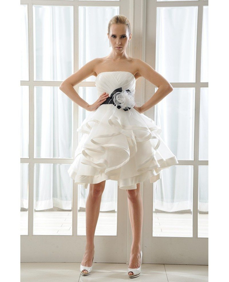 Ivory Short Wedding Dress Tutu With Color A-Line Strapless Style ...