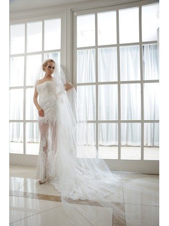 Sheath Strapless Court Train Tulle Wedding Dress With Appliques Lace