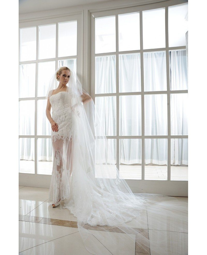 Beach high low wedding dresses tulle long train sheath for Strapless wedding dresses with long trains