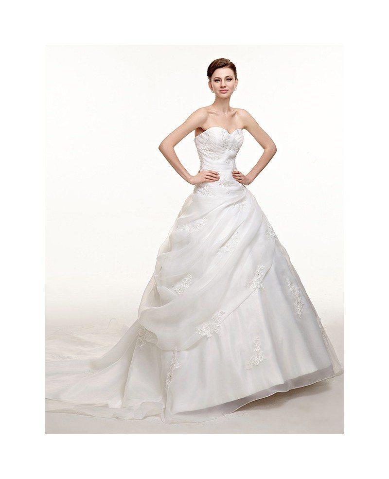 Sweetheart Beaded Lace Organza Corset Wedding Dress with Train ...
