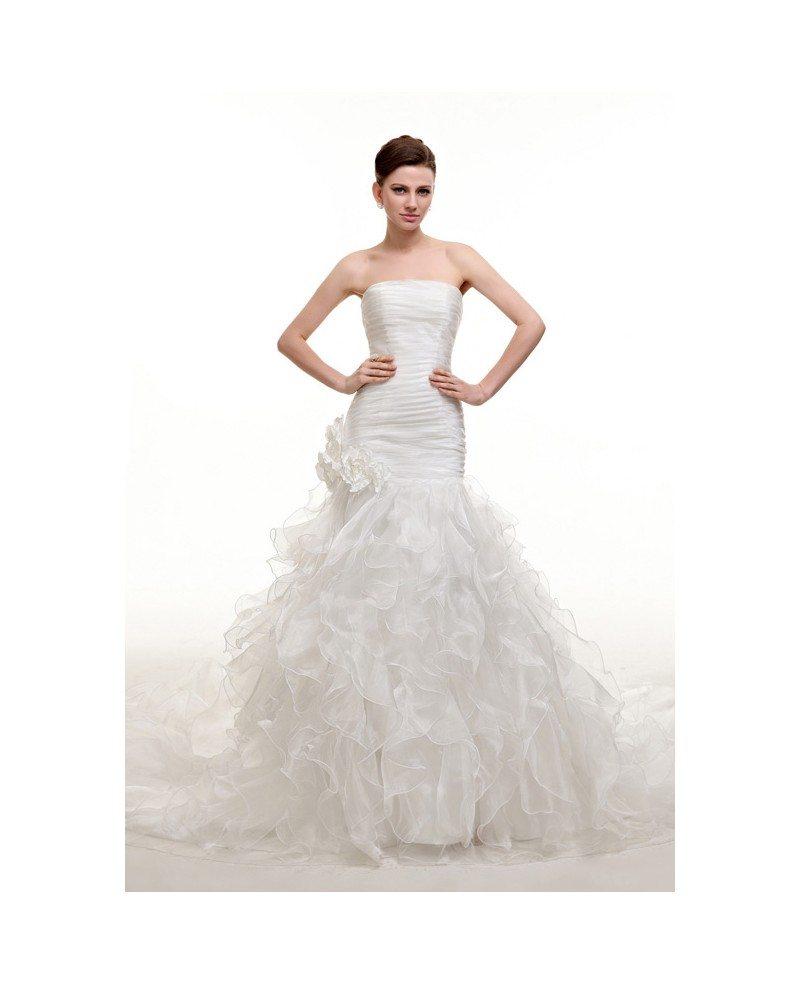 Strapless pleated mermaid long train wedding dress with for Mermaid wedding dress with long train