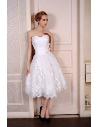 A-Line Sweetheart Tea-Length Satin Tulle Wedding Dress With Beading Appliques Lace Flowers