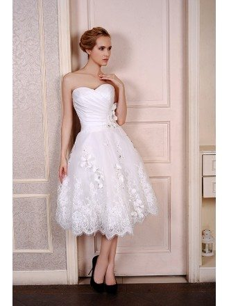 A-Line Sweetheart Tea-Length Satin Tulle Wedding Dress With Beading Appliquer Lace Flowers