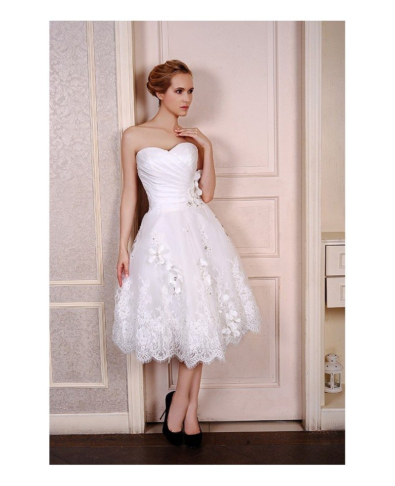 A Line Sweetheart Tea Length Wedding Dresses Lace Satin Tulle Style ...