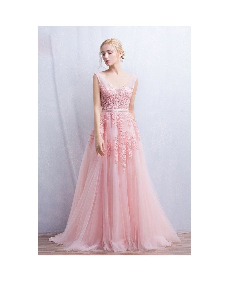 Romantic tulle wedding or prom dress a line v neck floor for A line floor length wedding dress